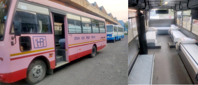 हरियाणा राज्य परिवहन फरीदाबाद डिपू द्वारा 5 मिनी बसों को आधुनिक एंबुलेंस में किया गया तब्दील